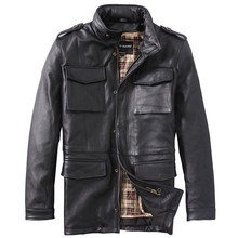 2017 Men Long Black M65 Genuine Leather Jacket Stand Collar Real Thick Cowhide Plus Size 7XL Russian Winter Coat FREE SHIPPING