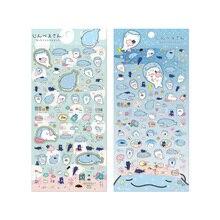 1X Cute Creative Blue whale sticker child diy toy Photo album Deco scrapbooking seal kawaii stationery