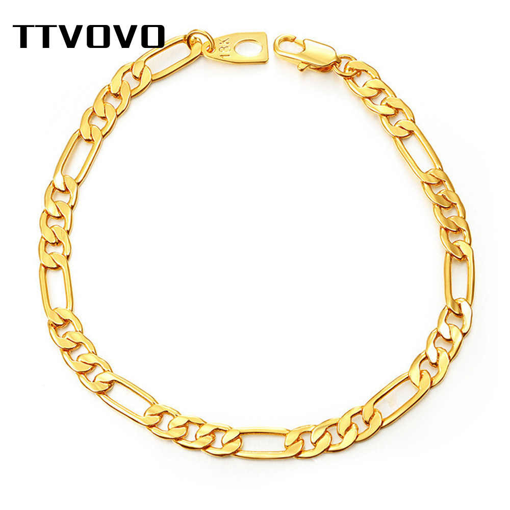 TTVOVO Gold Filled Figaro Chain & Link Chain Bracelet for Men Women 5MM Wide Chain Bracelet Bangle Male Fashion Hip Hop Jewelry