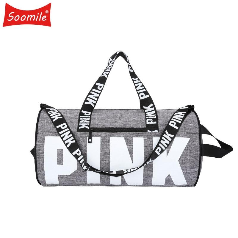 Fashion Girl Stripe Duffle Bag Women Travel Bag Colorful VS Zipper Shoulder Versatile Sack Summer Secret Holiday Beach Bag Nylon