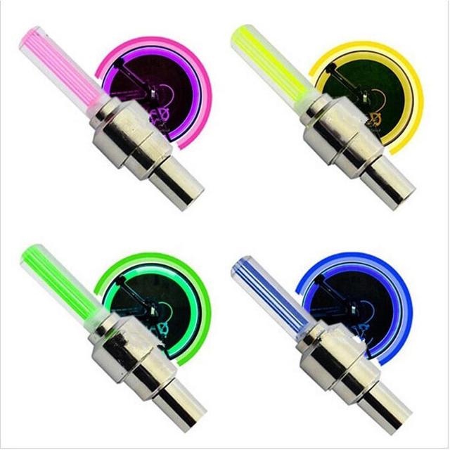 2PCS Car Wheel  LED  Light Mountain Bike Light Tire Valve Cap Decorative Lantern Tire Valve Cap Spoke Neon Lamp