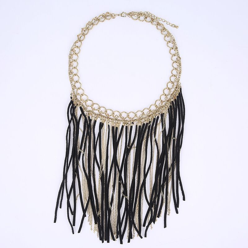 American Style Link Chain Leather Tassel Necklaces for Women Fashion Feather Maxi Necklace Fashion Steampunk Neck Wear