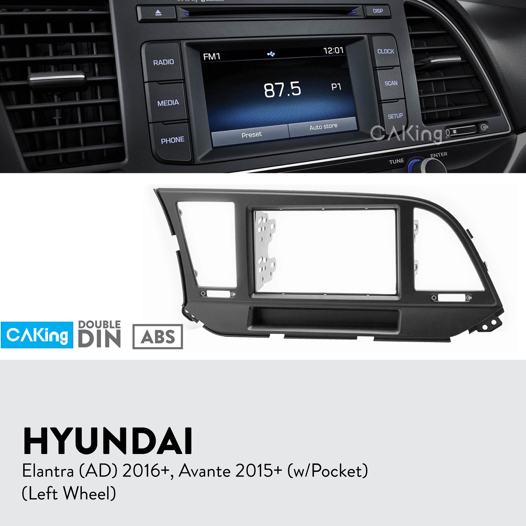 Fascia Radio Panel for HYUNDAI Elantra AD 2016 Avante 2015 Left Wheel Dash Kit Facia Plate