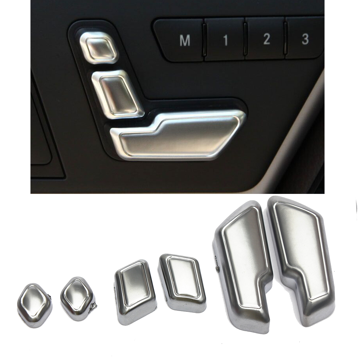6Pcs Chrome Car Door Seat Adjust Buttons Switch for Mercedes-Benz E Class W204 W205 W212 W218 X204 X166 C E GLK GL ML CLS GL