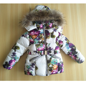 Image 2 - 1   2Y Baby Girl Winter Clothing Set for Girls Flowers Down Coat +Overalls Suits Warm Windproof Snowsuit Toddler Ski Suit