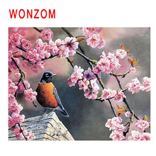 WONZOM Plum Blossom Painting By Numbers Abstract Animal Oil Bird Cuadros Decoracion Acrylic Paint On Canvas Modern Art