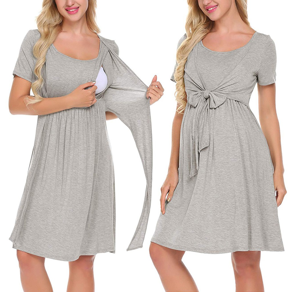 vetement femme 2019 Women Maternity Pregnant dress Nursing Baby Nightgown Solid Color Breastfeeding Sleepwear Dress ropa de muje(China)