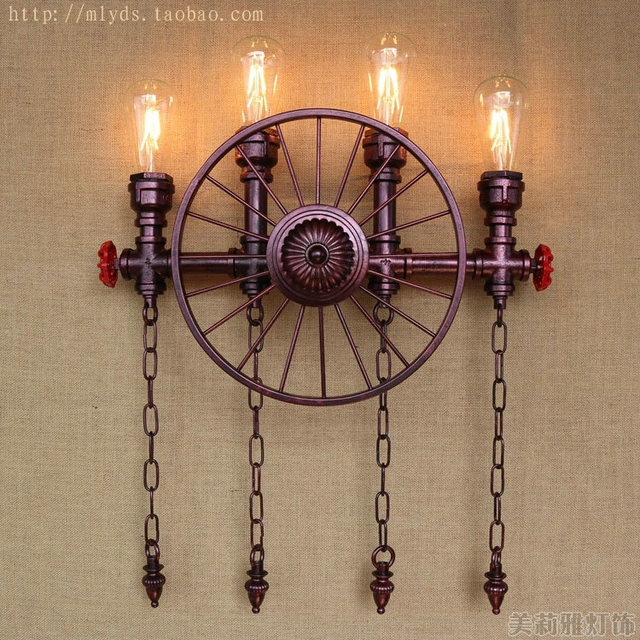 Water Pipe Wall Lamp Vintage Industrial Lighting With 4 Lights ...