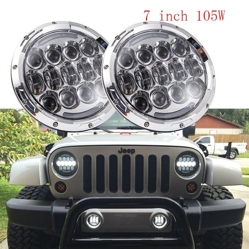 2 PCS Chrome 7inch projector headlight DOT Approve 7'' 105W Daytime running lights for Land Rover Defender 90 110 JK JEEP power steering pump for land rover defender 90 2007 lr009817 lr031518