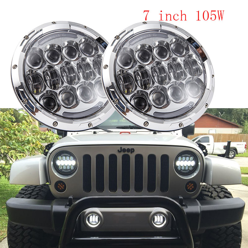 2 PCS Chrome 7inch projector headlight DOT Approve 7 105W Daytime running lights for Land Rover Defender 90 110 JK JEEP