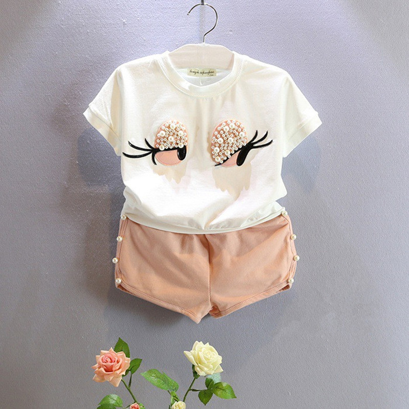 2016 New Summer Kids Sets Girls Clothes Set Fashion Pearl Big Eye Lashes Short Sleeve Top Shors Suit Girls Clothing Ses 2-7Y