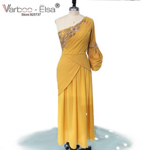 VARBOO_ELSA Sexy One-Shoulder Long Sleeve Evening Dress Orange Beaded Straight Prom Dress 2017 Custom Arab Women Formal Dresses(China)