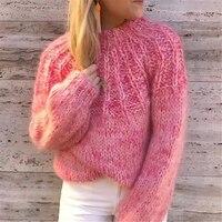 18 осенние и зимние новые комплекты витой кашемировый свитер женский шерсть Фонарь рукава свободные свитер с бантом женские