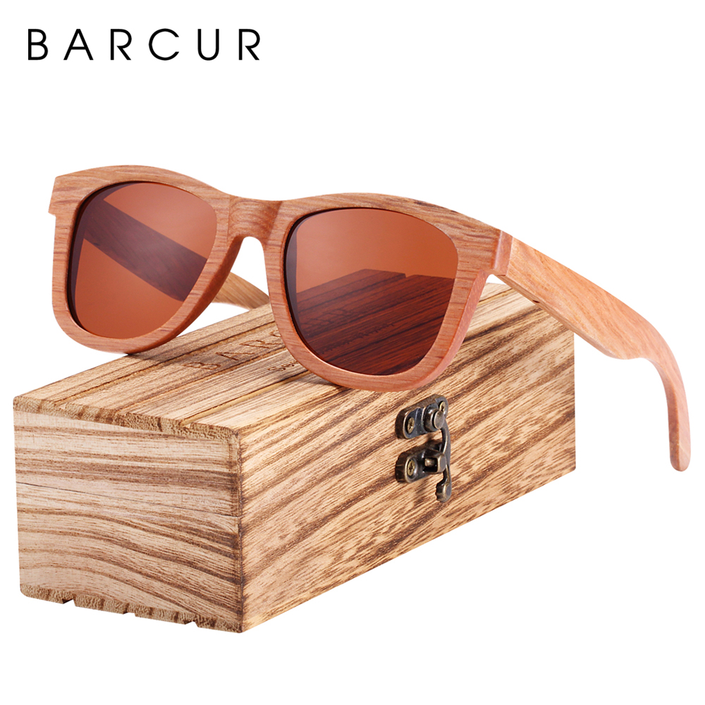 BARCUR Natural Wooden Sunglasses for Men Polarized Sunglasses Wood oculos de sol feminino frete gratis 1