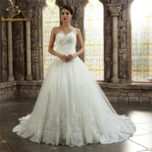 Bealegantom White Organza Wedding Dresses 2017 Beaded Appliques Zipper Plus Size Bridal Gowns Vestido De Novia QA1129