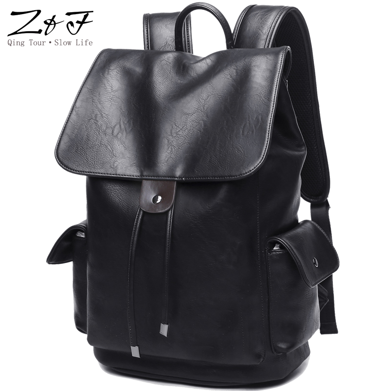 Men's PU Leather for 15 inch Laptop Large Capacity Backpack Male Luggage Bag Casual School Bags Men Travel Backpack mochila male bag vintage cow leather school bags for teenagers travel laptop bag casual shoulder bags men backpacksreal leather backpack