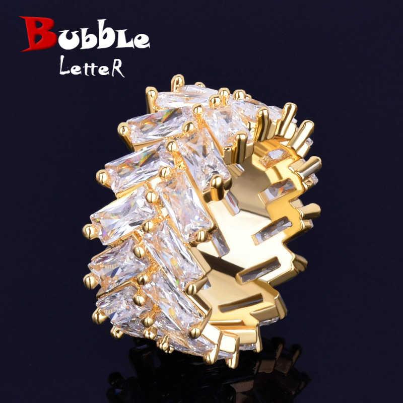 2 แถว Baguette Zircon แหวนผู้ชาย 18 K ทองแดง Charm เงินสีเย็นแหวนแฟชั่น Hip Hop Rock เครื่องประดับ
