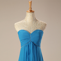 Backlackgirl Blue Evening Dress Long A Line Sweetheart Lace Up Beaded Chiffon Prom Dress African Women Formal Prom Evening Gown