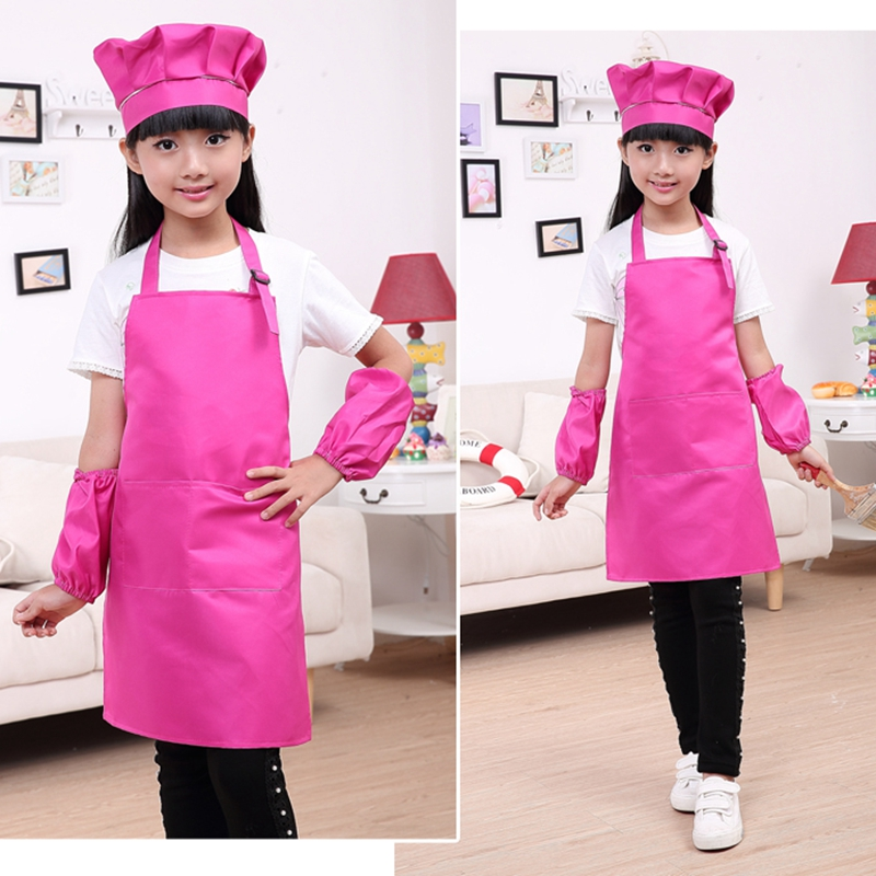 Children Chef Apron Set Kindergarten DIY Art Painting Apron Hat Kids Bakery Apron With Hat And Cuffins