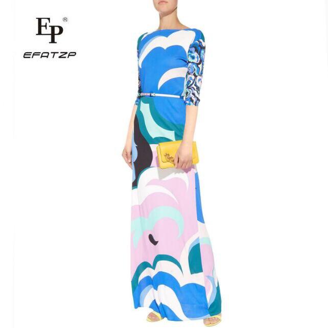 EFATZP New Autumn fashion lady high quality stretch knit slim 3 4 Sleeve extended beach dress