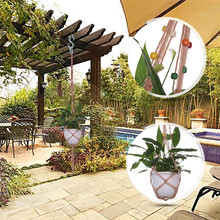 Purely Hand Knitting Natural Cordage Plant Hanger Basket Flower Pot Hanging Rope Holder String  Wall Home Garden Balcony Decor