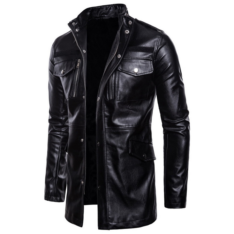 BZBFSKYNew Autumn Motorcycle Leather Jacket Men Long Windbreaker Coat High Quality PU Leather Jacket Male Multi-Pocket Leather