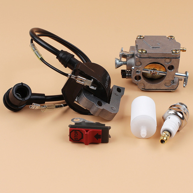 Carburetor Ignition Coil Switch Spark Plug Fuel Filter Kit For HUSQVARNA 266 268 272 XP 272XP Chainsaw Engine Parts