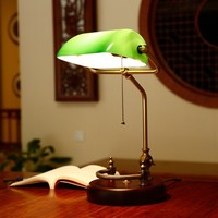 Bankers Desk Lamp Vintage Table Lighting Fixture Green/yellow Glass Shade Birch Wood Base Antique Adjustable Articulatingl Cord