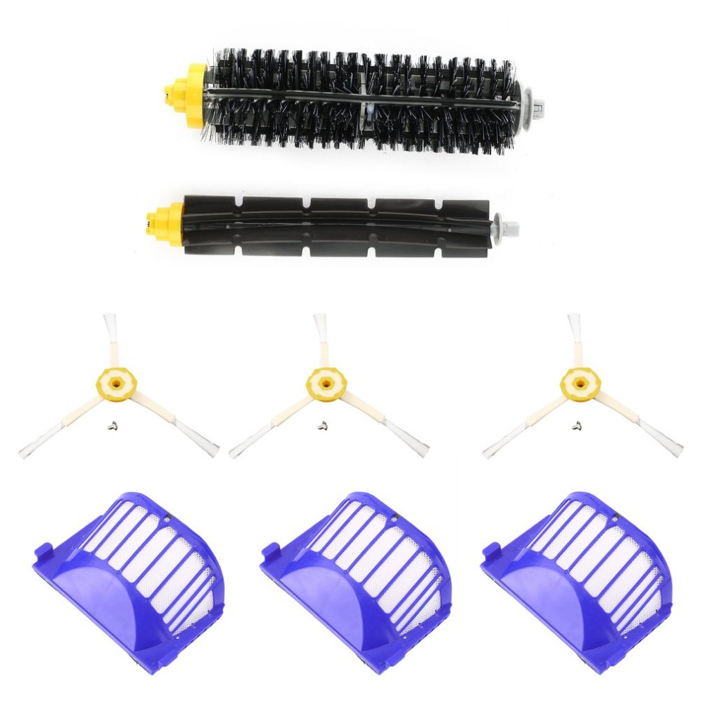 3pcs Corner Cleaning Robots Replacement Brush 3pcs Cleaner Filter One Rolling Brush Set For Roomba 620 630 650 660 3pcs side brush vacuum cleaner filter for 600 one rolling brush glue flat comb circular rolling brush for roomba
