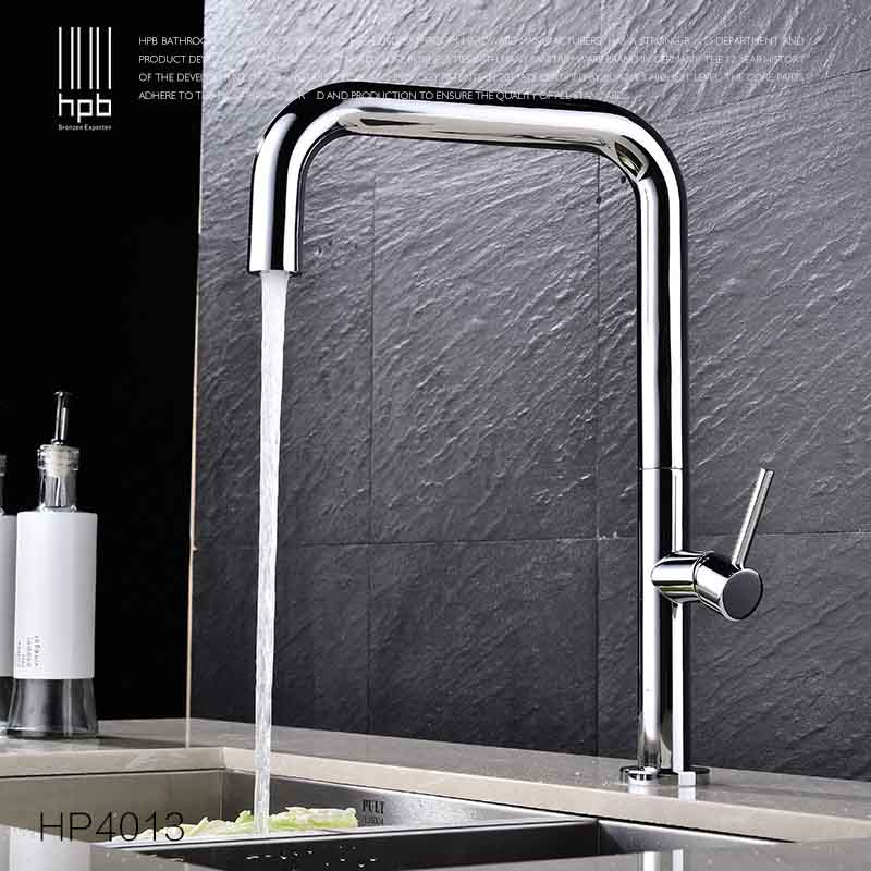 HPB Brass Chrome Rotary Kitchen Faucet Sink Mixer Tap Deck Mounted Single Handle Single Hole Hot And Cold Water Pb-free HP4013 hpb pull out bathroom faucet brass sink basin mixer tap cold hot water chrome single hole handle fashion design quality hp3030