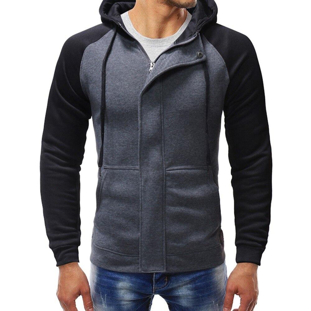 Zipper Hooded Sweatshirt Male Long Sleeve Pocket Pullover Hoodie Coat Plus Size Men Hoodies Jacket Winter Spring Drawstring