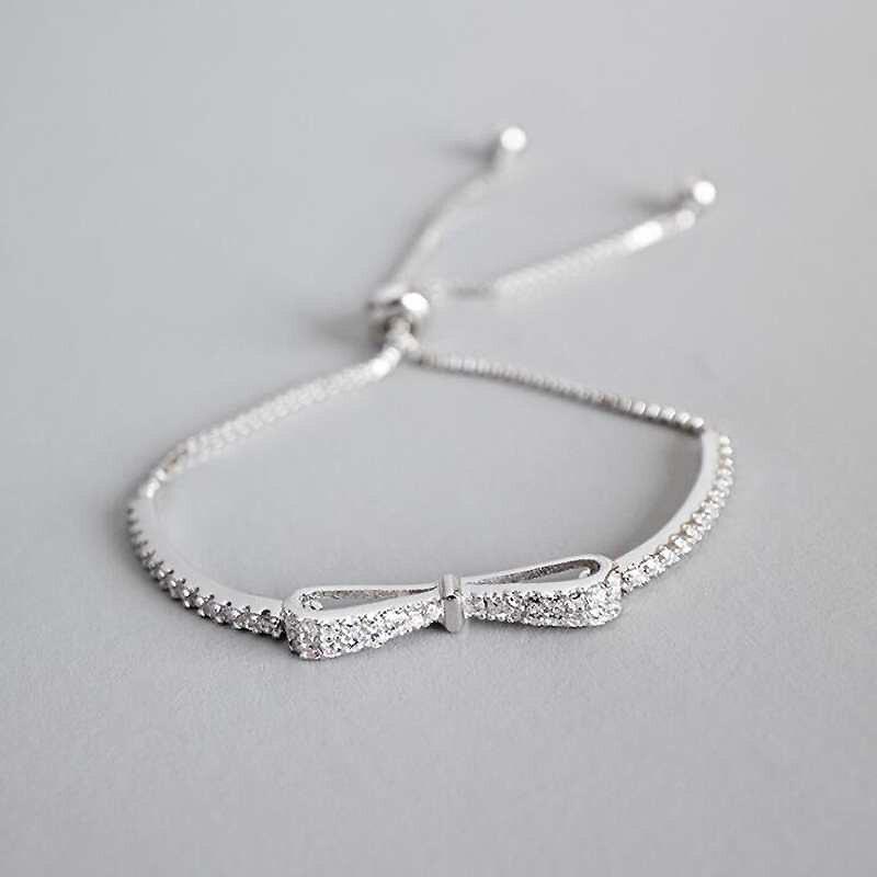 Ruifan Fashion Box Chain Bowknot 100% 925 Sterling Silver Bracelet Ladies Cubic Zircon Bracelets Female Women's Jewelry YBR057