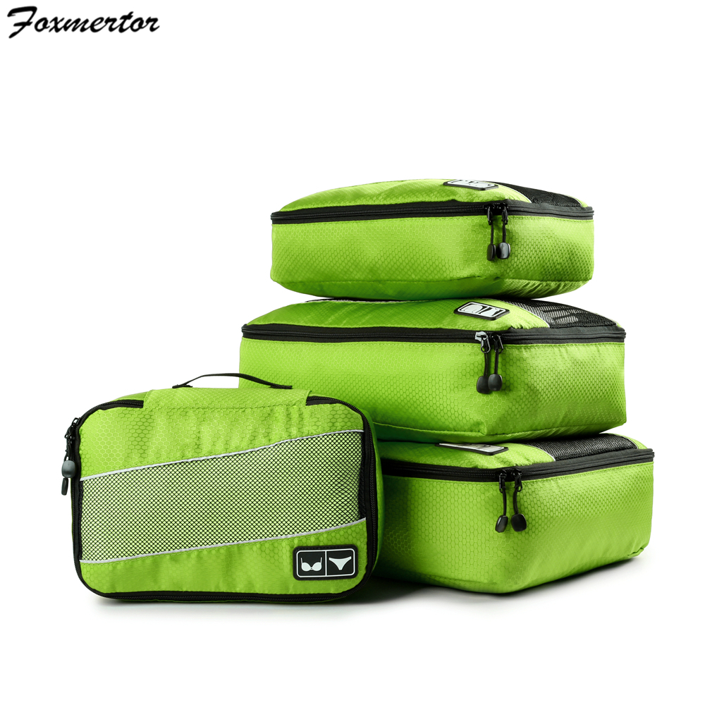 Travel Totes Packing Cubes For Outwears Shirts Bras Nylon Breathable Men Women Solid Travel Luggage Foldable Organizer Cube Set