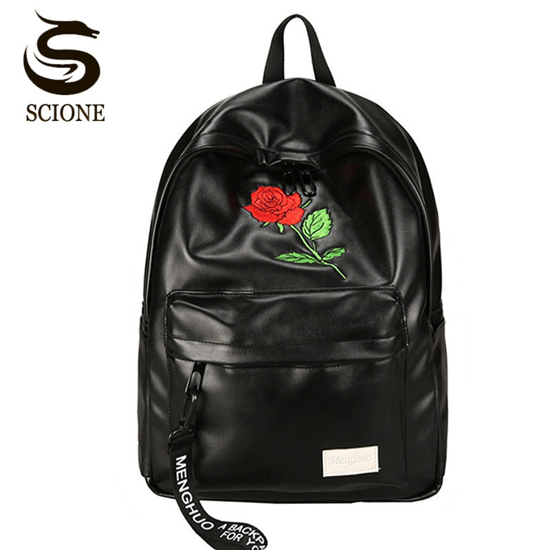 Scione Rose Embroidery Backpack White Black Leather