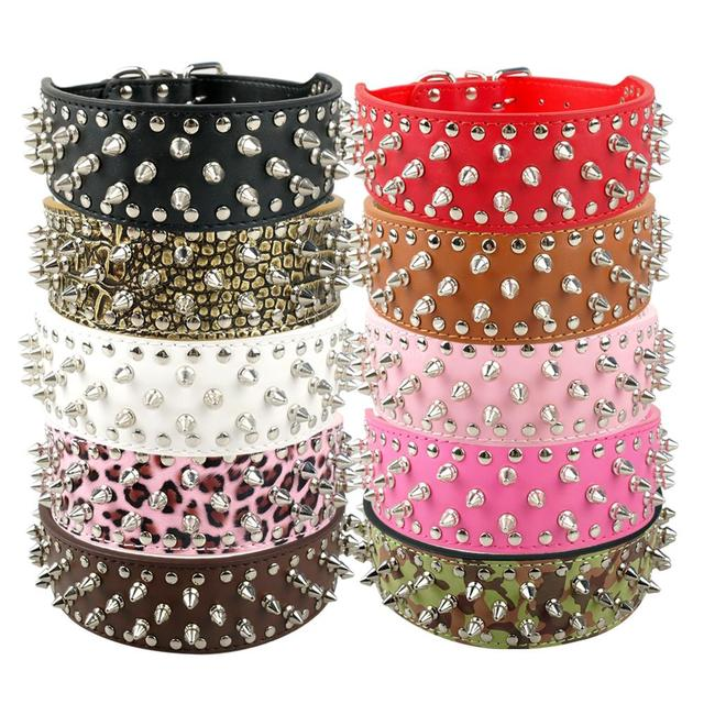 MOQ:10 pcs 7 colors Berry Leather Studded Spikes Dog Collar For Medium And Large Breeds