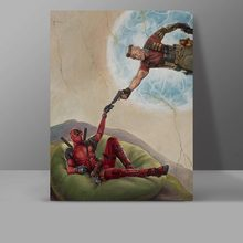 Deadpool & Cable Canvas Painting Parody The Creation of Adam 2 Movie Wall Pictures Super Hero Hanging