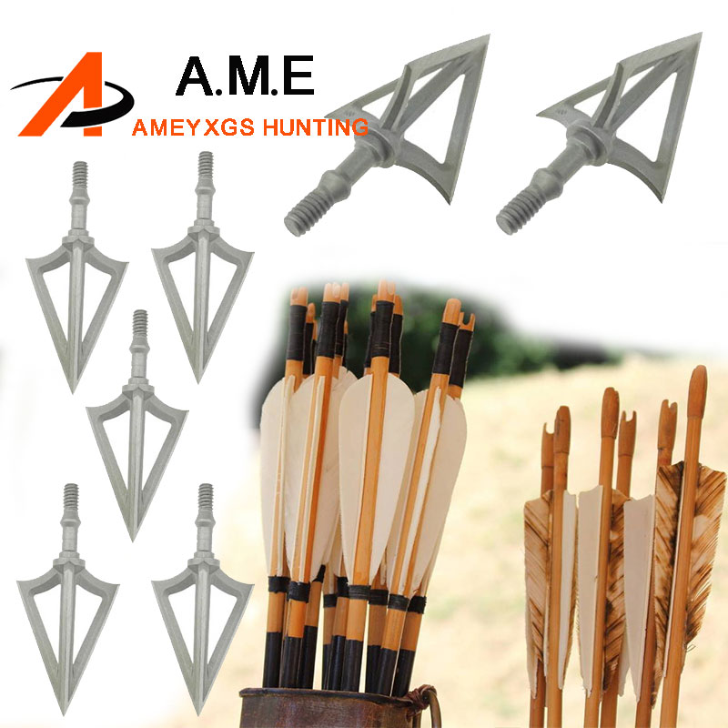 6PCS G5 Stainless Steel Montec Broahdeads Striker Fixed Blade Arrowheads 100Grain for Re ...