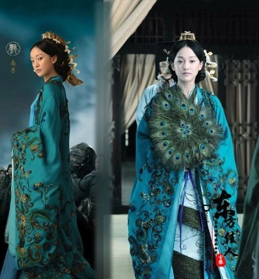 New TV Play Confucius Kongzi Acress Nanzi Peacock Costume Hanfu with Gorgeous Tail Super Extavagant Costume Chunqiu Period