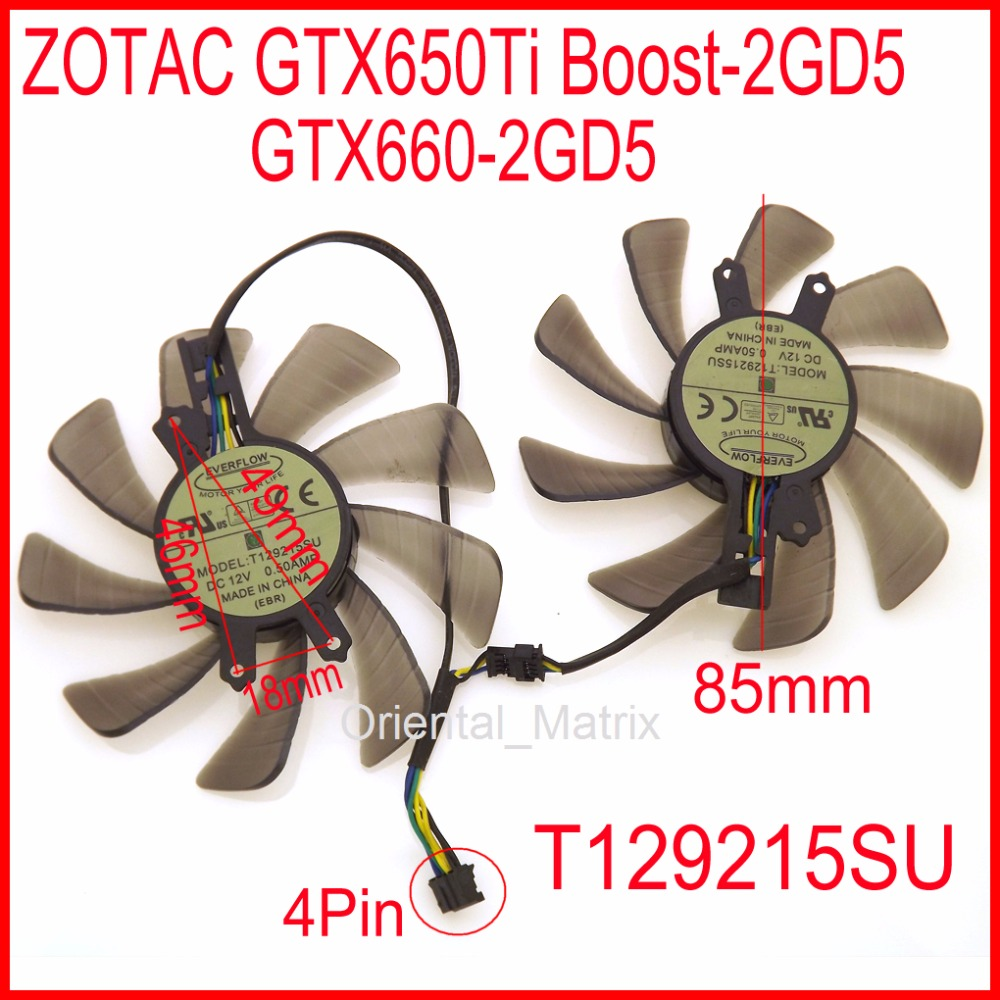 T129215SU 12V 0.50A 85mm 46*49*18mm 4Pin For ZOTAC <font><b>GTX650Ti</b></font> Boost-2GD5 GTX660-2GD5 HA Graphics Card Fan image
