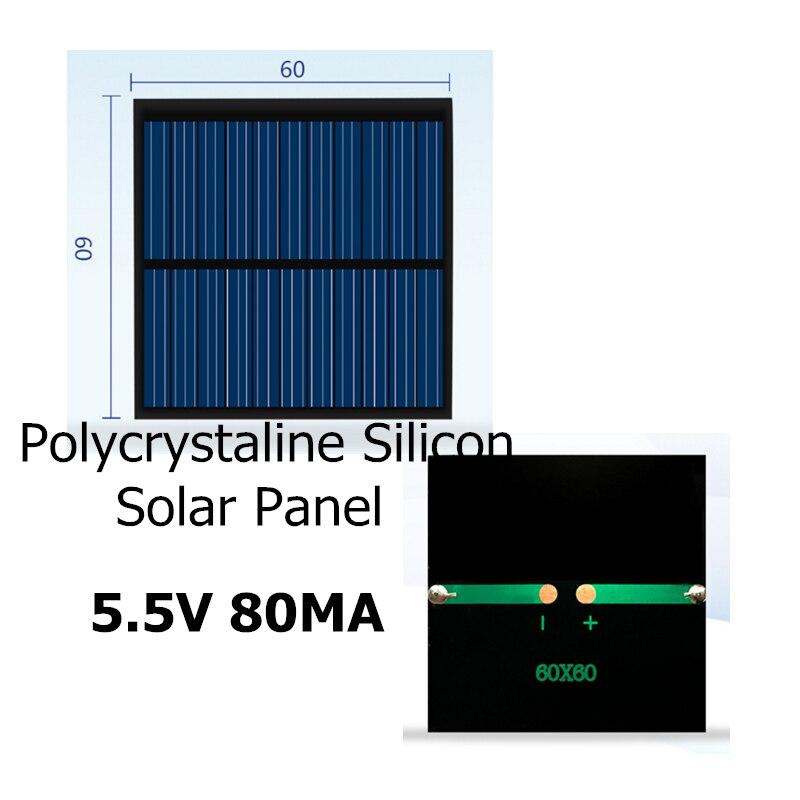 Mini Panel Solar de silicio policristalino 5,5 V 80MA para cargar la placa de alimentación de la batería móvil de 3,7 V