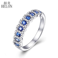 HELON Solid 18K White Gold 0.95CT Natural Sapphires Diamonds Ring Gemstone Wedding Anniversary Band Women Classic Fine Jewelry