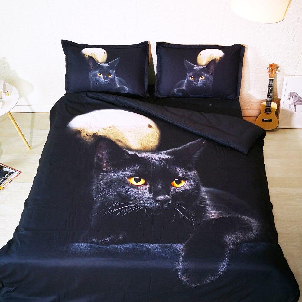 3 pièces ensemble beau chat noir sous pleine lune 3d ensemble de linge de lit