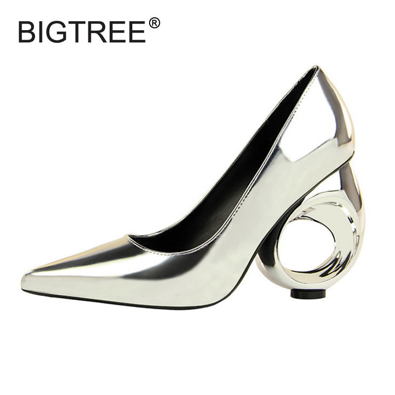 все цены на New Arrival Women's High Heels Shoes Sexy Pointed Toe Slip-on Shining Metalic Patent Pumps For Women Ladies Evening Party Shoes онлайн