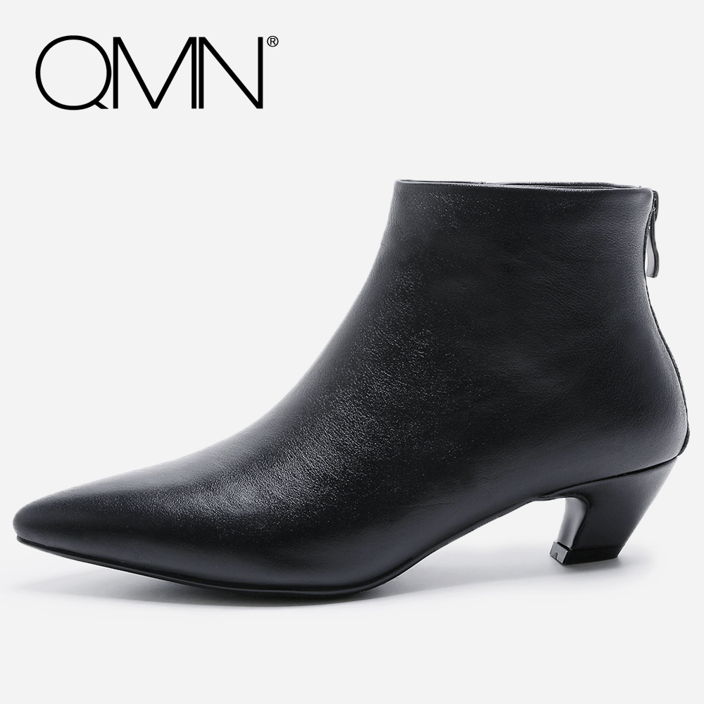 QMN women genuine leather ankle boots for Women Natural Suede Fashion Boots Shoes Woman Strange Heel Basic Boots Botas 34-41 qmn women crystal embellished natural suede brogue shoes women square toe platform oxfords shoes woman genuine leather flats