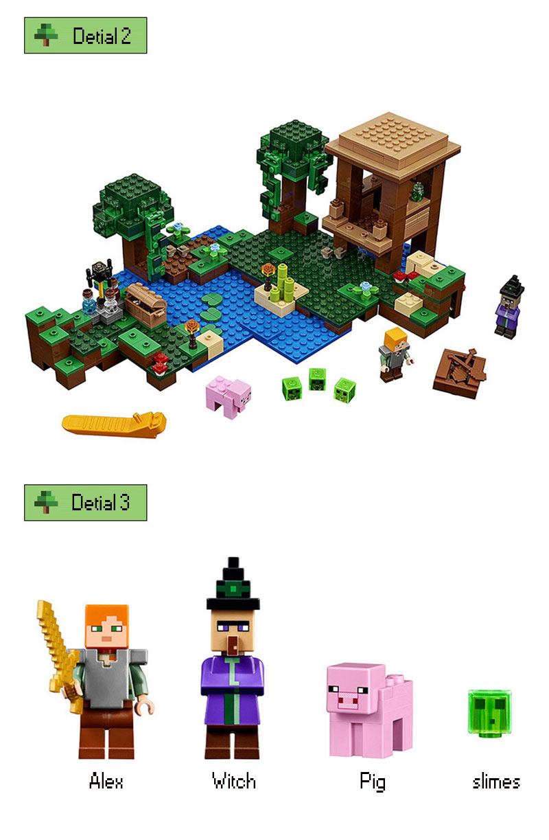 Minecraft The Witch Hut Compatible Steve Slimes Minifigures Legos Lego 21133 01 02 03 04 05 06 07