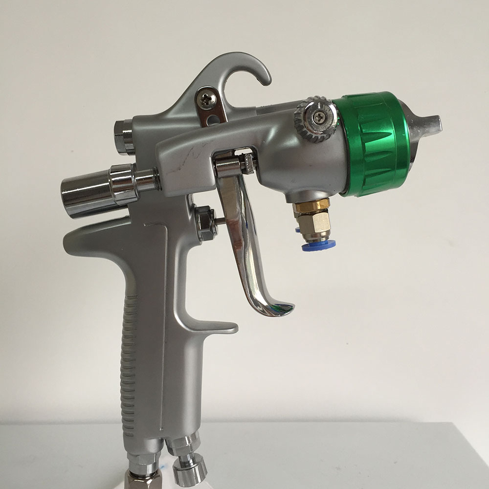 SAT1189 pneumatic paint spray gun stainless steel nozzle high pressure automotive car paint double nozzle pneumatic chrome gun