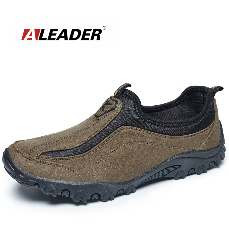 ALEADER Suede Leather Mens Shoes Casual Outdoor Slip On Oxfords Durable Trek Shoes For Men Walking Shoes Outventure Sapatos suede slip on mens shoes