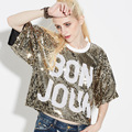 T Shirt Women 2017 Hot Spring Short Sleeve Sequined Harajuku BON JOUR Letter Baseball T Shirt Casual Crop Street Sequin Club Top