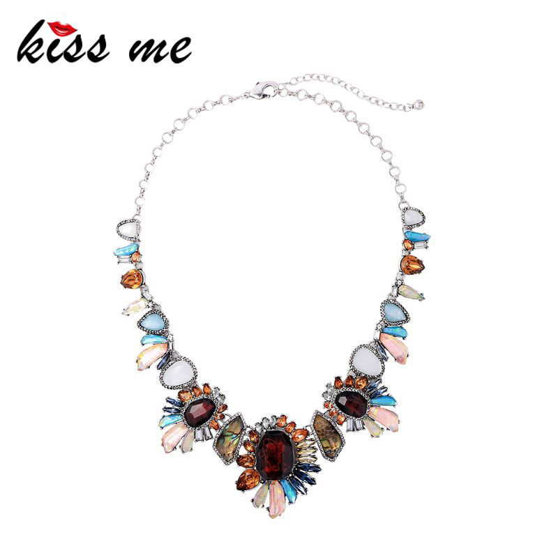KISS ME Colorful Synthetic/Natural Stone Geometric Flower Necklace Party Unique Choker Necklace Women Statement Jewelry charming multilayered geometric choker necklace for women