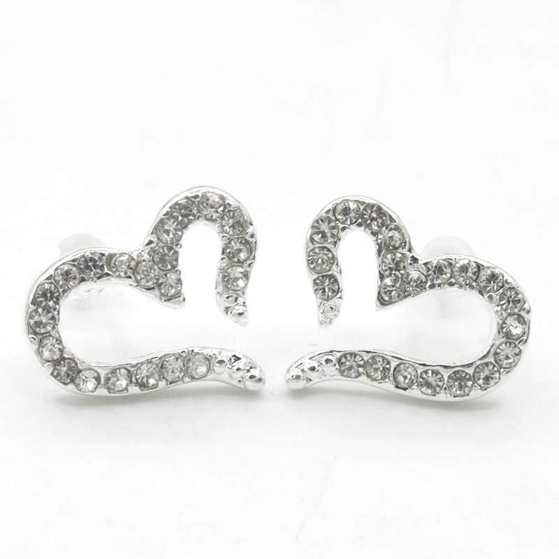 Серьги-гвоздики в форме сердца для женщин, посеребренные серьги, кристалл, циркон, стразы, любовь, эффектное украшение, женские модные серьги, ювелирные изделия
